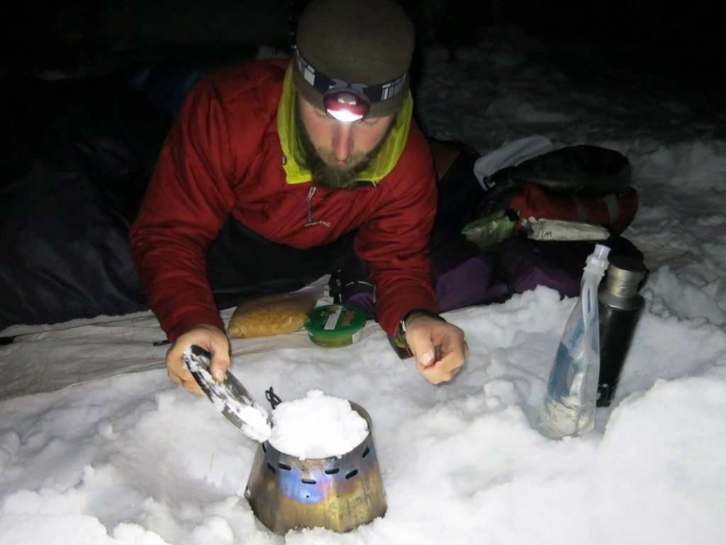 Winter Pacific Crest Trail thru hike cooking