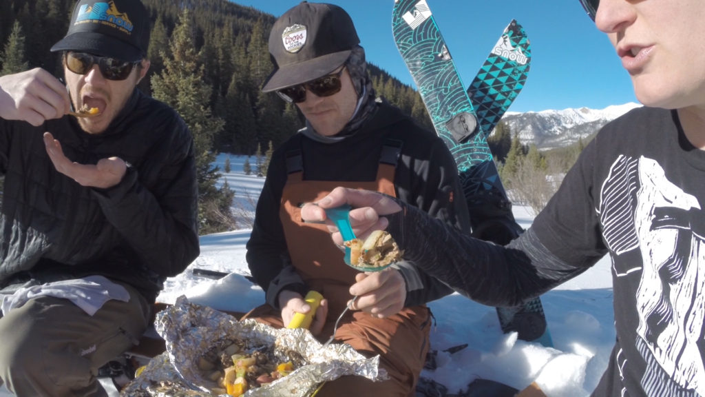 Jake, Tanner and Michelle enjoy foil packs Hobo Hot Pockets