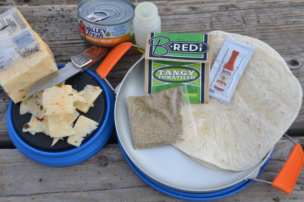 Ingredients for outdoor enchiladas