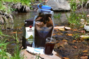 Cold Brew Coffee made outside using a Nalgene Cantene
