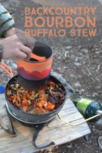 Recipe for backcountry bourbon buffalo stew. One pot, paleo, healthy group meal