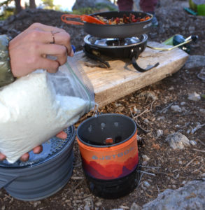 Serving Buffalo Stew in JetBoil stoves