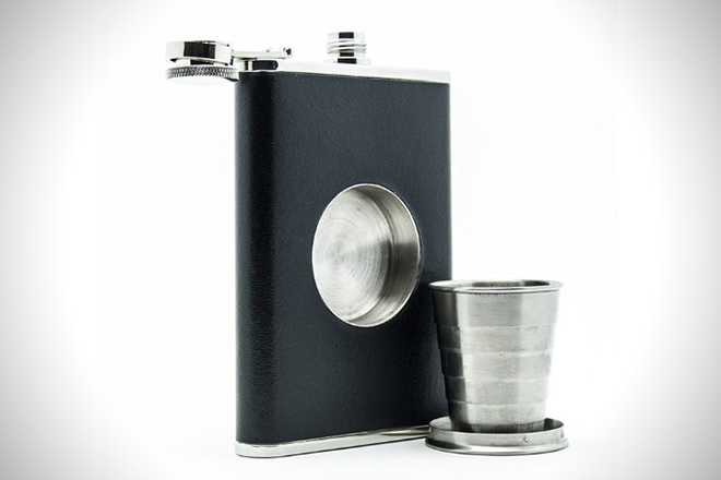 Backpacking flask with shot glass